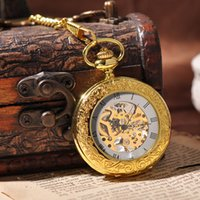 antique key box - Luxury Gold Steampunk Skeleton Key Chain Necklace Mechanical Pocket Watch Fashion Suits Cool Gift Box Sales Vine Watch