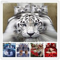 Cheap Wholesale-7pcs cotton 3d bedding sets tiger,leopard, wolf, Marilyn Monroe, rose duvet comforter covers,bed sheet set full queen king size
