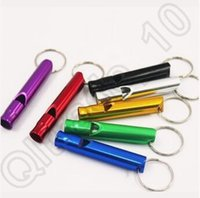 Wholesale Mixed Colors Outdoor Hiking Camping Aluminum Emergency Survival Whistle Metal Lifesaving Whistle Key Chain With Ring CCA4667