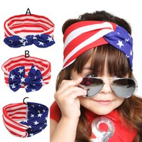 baby national - 3 Design Baby Stars Stripe National Flag Bowknot Headbands Girls Lovely Cute Bow Hair Band Head Wrap Children Elastic Accessories