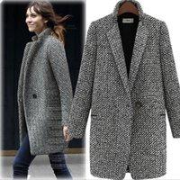 New Autumn / Winter Women Trench Coat Grey Medium Long oversize Warm Wool Jacket Femme Vêtement Européen Outdoor Outdoor Fashion Women Overcoat