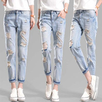 bf jeans - Haren Holes female Jeans clothes for Woman Trousers BF Wind Easy Leisure Time Will Code Nine Part Bound Feet Beggar Pants Women