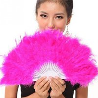 Wholesale Soft Fluffy Lady Hand Fancy Dance Props Costume Dance Feather Fan Red Purple Rose Red