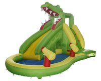backyard water slides - Hot selling residential bounce house crocodile inflatable water slide water park with pool and canno