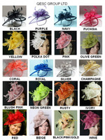 Wholesale 26 colours EMS HOT sinamay fascinator hat in SPECIAL shape with feathers for derby wedding party church