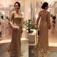 bateau boats - 2016 Gold Custom Made Full Lace Mother of the Bride Dress Long Sleeves Fitted Boat Neck Sweep Train Formal Mermaid Prom Evening Gowns