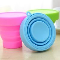 Wholesale Portable Silicone Retractable Folding Cup Telescopic Collapsible Candy Outdoor Camping Travel Tableware Foldable Cup