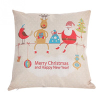 Wholesale Merry Christmas Santa Deer Linen Pillow Cases Covers Home Sofa Decorative Square