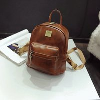 Wholesale Women Tide Fashion Simple Vintage PU Leather Backpack