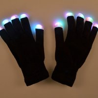 Wholesale 2016 New Modes color changing flashing Led glove for KTV Party Finger Flashing Glow Flashing Fingertip Light LED Gloves