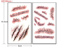 Wholesale 5 set Halloween Zombie Scars Tattoos With Fake Scab Blood Special Costume Makeup Halloween Decoration