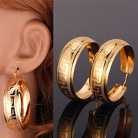 Wholesale New Trendy K Real Gold Plated Vintage G Letter Style Fashion Jewelry Hoop Earrings For Women E6341