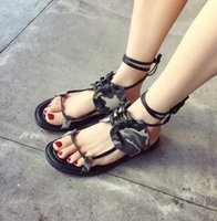 ankle patch - 2016 New Arrival Women Roman Style Sandals Camouflage Patch Work Summer Flats Special and Comfortable