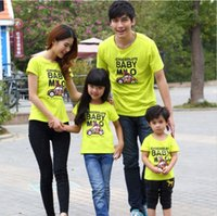 baby kitting clothes - 2016 summer family look cotton kits mom dad baby clothes family set mom and daughter clothes short T shirt