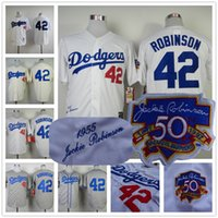 robinson - Jackie Robinson Jersey Throwback Los Angeles Dodgers White Cream Grey With th hall of fame Patch