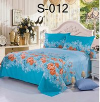 Wholesale Blue flowers Single Double Flat Sheets Twin Full Queen size Polyester Sheet coverlet Coverlid Bedspread Sheets Home Textiles Bedding Supplie