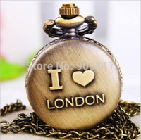 antique clocks london - Vingate bronze I love london pattern Steampunk Pendant Chain Clock Quartz Pocket Watch