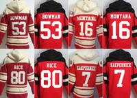 Wholesale 49ers hoodies cheap football jerseys San Francisco hoody sweatshirts BOWMAN MONTANA RICE KAEPERNICK red freeshipping