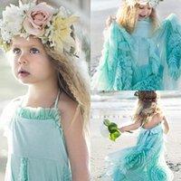 beach pictures children - New Design Green Little Girls Pageant Dresses Handmade Flowers A Line Floor Length Beach Flower Girl Gown Child Teens Formal Wear Dress