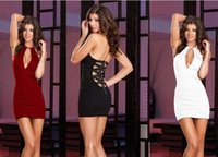 Wholesale The new star with a European high end women s dress and zipper Halter sexy nightclub dew