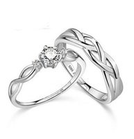 Wholesale 925 Sterling Slver Ring Korea Europe And America Love Intertwined Couple Simple Ring On The Ring Opening Personality Plated White