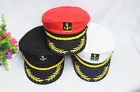 admiral red - Promotion Sailor Ship Boat Captain Hat Navy Marins Admiral Adjustable Cap White Drop Shipping