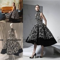 art photo prints - Ashi Studio Fall Real Photo Black Sleeveless Sequin Tulle Tea length Prom Dresses Arabic Dubai High Neck Ball Gown Occasion Dress Wear