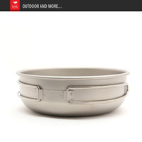 Cheap Titanium titanium metal clad, folding handle bowl, bowl, titanium lunch box, outdoor bowls, health utensils, outdoor equipment.