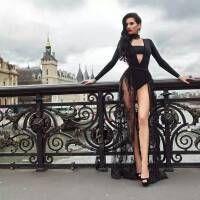 Wholesale Designer Luxury Brand Black Piece Business Pantsuits Long Sleeve Jumpsuit and Lace Wide Leg Full Lengh Trousers Suits For Ladies H2373