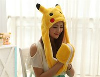 animal scarf hat - Poke mon Go Pikachu hats Cotton Cartoon Plush Toys Beanie Animal Christmas Present Plush Winter Hat Caps