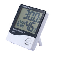 Wholesale Digital LCD Thermometer Electronic Temperature Humidity Meter Hygrometer Weather Station Indoor Alarm Clock HTC With Retail Package