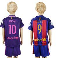Wholesale 2017 Kids Kit Jersey Home Blue Away Pink SUAREZ MESSI NEYMAR JR Boy Football Jerseys Child Soccer Shirt With Shorts