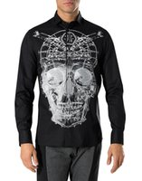Wholesale 2016 NEW PP men s high quality long sleeve casual shirt print big skulls colors size M XL