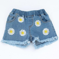Wholesale Kids Girls Tassel Jeans Baby Girl Flower Embroidery Short Pants Girl Hot Pants Baby Denim Shorts Trousers Children Clothes TL148