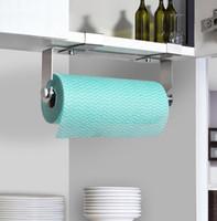 Wholesale SUS Stainless Steel Kitchen Paper Holder Tissue Roll Hanger Over the Drawer Cabinet Door Shelf Brushed