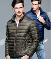 Wholesale Slim Coat Outerwear - Men Down Jackets Ultra-light Sport White Duck Down Coats Stand Collar Slim Thin Portable Outerwear Autumn Winter High Quality 2016 New