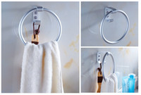 bathroom towel ring nickel - Hot sale Towle Ring Space Aluminium Material Stainless Steel Round Style Wall Mounted Towel Ring With Hooks Hanger Bathroom