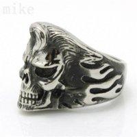 Wholesale 2pcs Fire Flame Ghost Skull L Stainless Steel Skull Ring steel steel captive bead rings