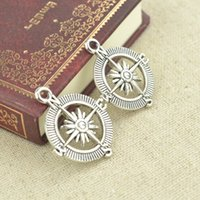 Wholesale Vintage tibetan silver metal diy charms compass pendants for necklace and bracelets jewelry accessories mm