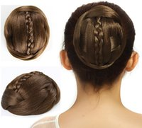 Wholesale 4 Color Hair Braiding Oval Chignon Synthetic Donut Roller Hairpieces for Women braid hair pieces bun