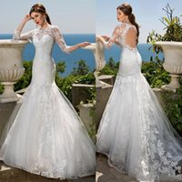 beads catalog - 2016 Mermaid Catalog Wedding Dresses Jewel Neck Sleeves Lace Applique Vintage Beads Wedding Gowns Long Hollow Back Beach Bridal Dress
