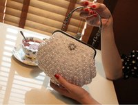 big faux leather clutch - Ivory White Shell Bridal Hand Bags Beaded Pearls One Shoulder Prom Evening Bags Big Clutch Bag For Women Ladies Formal Accessories