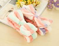 Wholesale 2016 New Big Hair Bow Headbands Wash Face Makeup Hair Band And Beauty Coral Velvet Hairbands Elastic Scrunchiely
