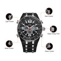 auto batteries sizes - Limited WEIDE New Quartz Watch Men s Sports Over size Military PU Watches Men Luxury Brand Meters Water Resistant WH1107 C