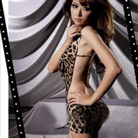 Wholesale Sexy Leopard Women s One Piece Dress Lingerie V neck Halter Backless Nightgowns amp Sleepshirts