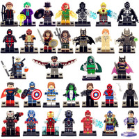 batman toys kids - 32pcs Marvel super heroes minifigures hulk Iron man Batman Spider man Superman Black Panther building blocks kids toys bricks