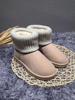 australia black knitting - 2016 winter new Arrivals Womens beige Genuine nubuck Leather Australia Shearling Fur lined warm Knit sweater collar snow boots