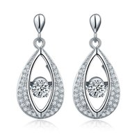 Wholesale Dancing stone Sterling Silver Eye Shape Vintage Dangle Long Earrings Fashion Jewelry Prong Rhodium Plated For for Women Gift DE16310A