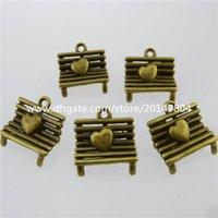 love chair - 13093 Antique Bronze Tone Vintage Hollow Chair Love Heart Pendant