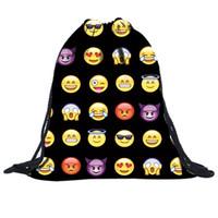 Wholesale Luggage Bags Backpacks Bag Ladies Emoji Backpack New Fashion Women Backpacks D Printing Bags Drawstring Bag For Men